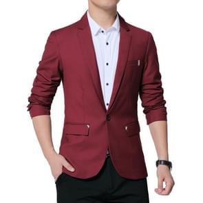 Mannen casual pak Self-teelt Business blazer  maat: S (wijn rood)