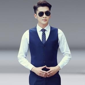Mannen vest slank Koreaans werkkleren pak vest groomsmen professionele slijtage mannen vest  maat: XL (marineblauw)