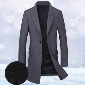 Fashion Winter Men Slim Woolen Coat, Size: XXL(Dark Gray ( Plus Cotton) )
