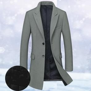 Fashion Winter Men Slim Woolen Coat, Size: XXXL( Dark Green (Plus Cotton) )