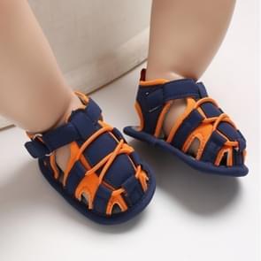 Baby Soft Walking Shoes Patchwork Hollow Prewalker Sandals, Size:11.5cm(Orange)