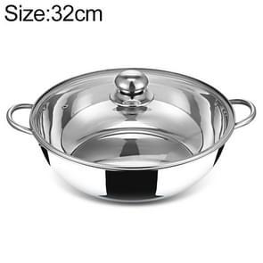 Stainless Steel Hot Pot Pot Home Double Bottom Soup Pot Multi-function Cooking Pot(32cm)