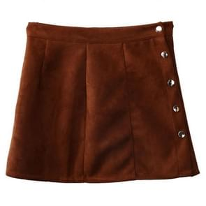 Fashion Elegant Women Summer High Waist Single Breasted Solid Slim Suede Leather Mini Skirts, Size:M(Khaki)