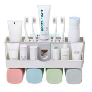 Wall-mounted Lazy Simple Automatic Toothpaste Toothbrush Holder Set, Specification:Family of Four