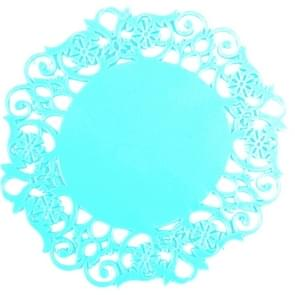 10 PCS Lace Flower Hot Coaster Silicone Cup Pad Slip Insulation Pad Cup Mat Pad Hot Drink Holder(Blue )