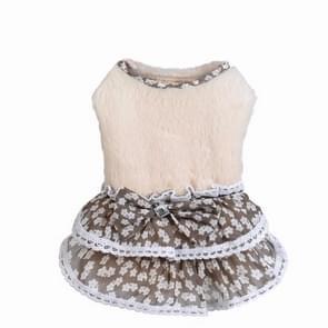 AB118 huisdier kleding hond Bow Floral trui rok  maat: L (beige)