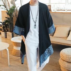 Mannen Lente en herfst stijl antieke losse groot formaat katoen en linnen jas  grootte: XL (als show)
