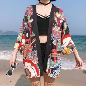 Strand straat losse zon bescherming kleding mouwen graffiti kimono dunne vacht  grootte: One size (als show)