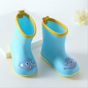 Rubber Children Cartoon Rainshoes Candy Color Rain Boots, Size:Inner Length 13.5cm(Blue Elephant)
