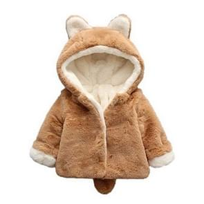 Winter Children Cartoon Animal Shape Plus Velvet Warm Hooded Jacket  Kid Size:80cm(Brown)