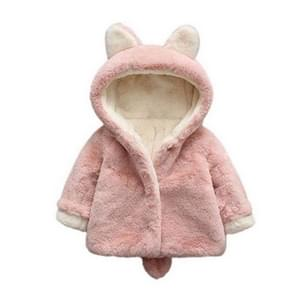 Winter Children Cartoon Animal Shape Plus Velvet Warm Hooded Jacket  Kid Size:90cm(Pink)