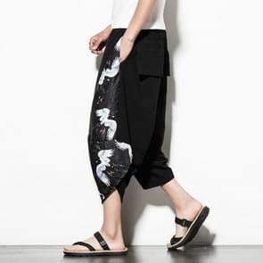 Mannen casual losse groot formaat afgedrukt katoen en linnen bijgesneden broek Wide Leg Broek  grootte: XL (zwart wit)