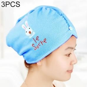 3 PCS Cute Cartoon Rabbit Thick Microfiber Absorbent Dry Hair Cap(Blue)