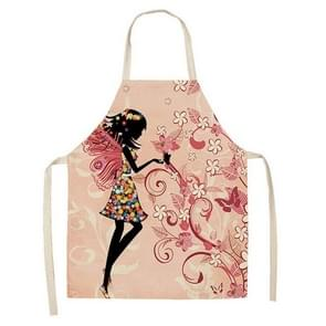 2 PCS Printed Kitchen Aprons Women Home Cooking Baking Cotton Linen Pinafore, Size:68x55cm(Butterfly Girl1)