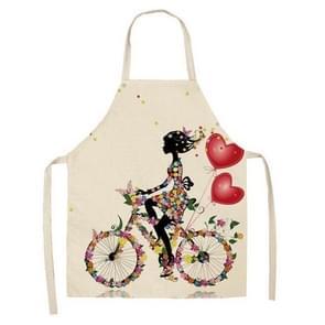 2 PCS Printed Kitchen Aprons Women Home Cooking Baking Cotton Linen Pinafore, Size:47x38cm(Cycling Girl)