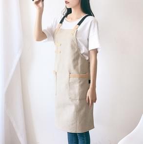 Washed Canvas Apron Chef Cafe Shop BBQ Hairdresser Aprons(Khaki)
