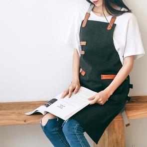 Washed Canvas Apron Chef Cafe Shop BBQ Hairdresser Aprons(Black)