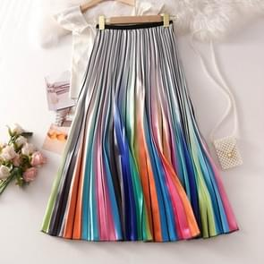 Summer Rainbow Colorblock Printed Pleated Skirt, Size:  One Size( Orange )