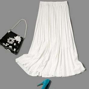 Elastic Waist Pearl Pleated Skirt, Size:  One Size(White )
