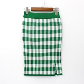 Plaid Split Bag Hip Knit Skirt, Size:  One Size( Green )