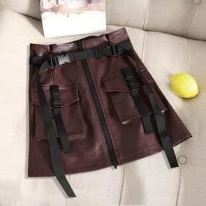 2 PCS Flower Skirt Skirt Chic PU Leather Tooling Zipper A Word Skirt with Belt, Size: M(Wine Red)