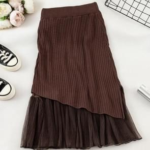 Autumn and Winter Stitching Mesh Split Fork Hip Knit Skirt, Size:  One Size( Coffee )