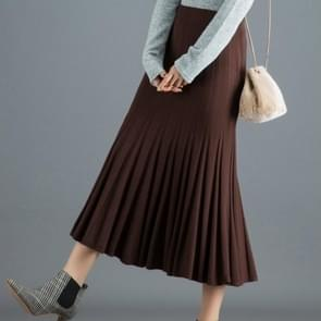 Women Autumn and Winter Long Knit Pleated Fishtail Bag Hip Skirt, Size:  One Size( Deep Coffee )