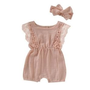 Summer Baby Girl Rompers Toddler Flare Sleeve Solid Lace Design Romper Jumpsuit with Headband, Size:90CM(Pink)
