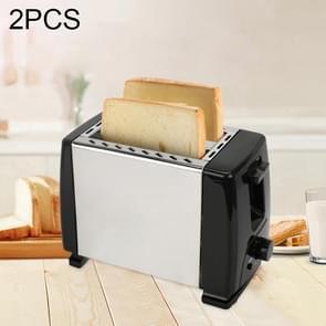 2 stks automatische huishoudelijke broodrooster volledig roestvrijstaal One-Touch snelkoppeling Toaster met 6-speed temperatuur aanpassing  willekeurige kleur levering