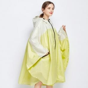 Stitching Color Women Rain Coat Waterproof Cape with Hood and Zipper for Hiking Touring Bicycling(Yellow)