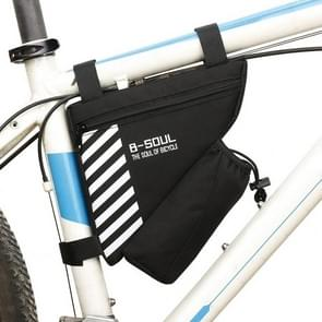 B-soul Bicycle Bags With Water Bottle Triangle Pouch Solid Cycling Front Tube Frame Bag Pocket, Size:20.5*18*5cm(Black)