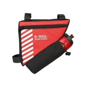 B-soul Bicycle Bags With Water Bottle Triangle Pouch Solid Cycling Front Tube Frame Bag Pocket, Size:20.5*18*5cm(Red)