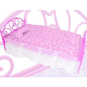 5 PCS Mini Cute Doll Plastic Bed + Pillow + Bedsheet Dollhouse Furniture Accessories