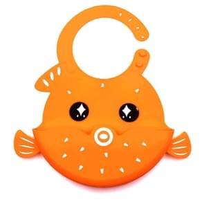 Children Eeating Cartoon Waterproof Adjustable Silicone Bib(Orange)