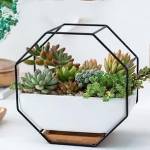 Eenvoudige achthoekige geometrische muur opknoping tabel succulente schotel bamboe steun ijzeren frame bloempot (zwart)