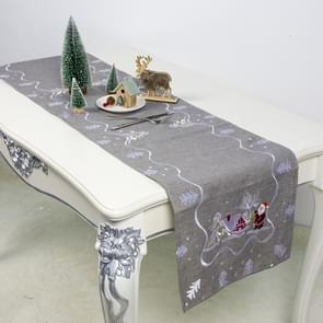 2 PCS Christmas Fabric Embroidery Table Flag Decorations(Gray)