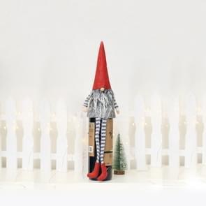 2 PC'S kerst tabel doek pop rode wijn fles set (grijze vacht rode hoed)