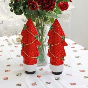 2 PC'S kerstboom gevormde rode wijn fles set ornament (rood)