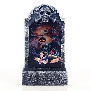2 PCS Halloween Bar Atmosphere Retro Simulation Tombstone Lights Decorations(Black Cats )