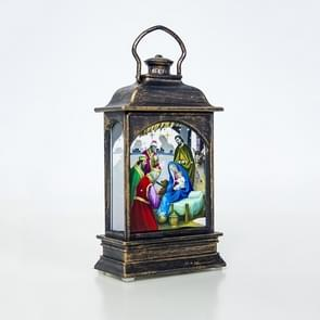 2 PC'S creatieve kerstversiering handheld Kerst lantaarn (bronzen religie)