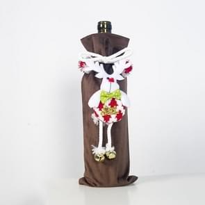 2 PC'S kerst driedimensionaal Flanel pop Champagne fles set decoratie (bruin elanden)