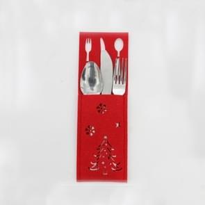 2 PC'S kerst rood opengewerkte stof mes en vork set decoratie (kerstboom)