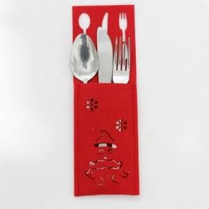 2 PC'S kerst rood opengewerkte stof mes en vork set decoratie (Santa)