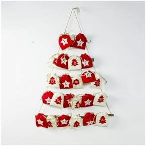 2 PCS Christmas Countdown Fabric Hanging Bag Storage Bag Decoration(Red)