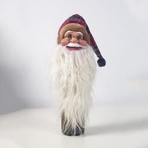 2 PC'S kerst siliconen Santa Claus hoofd rode wijn set fles ornament kerstboom top ster (Plaid)