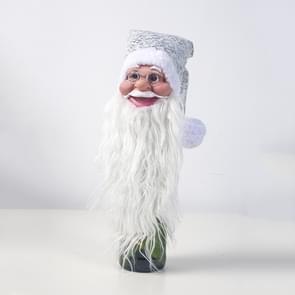 2 PC'S kerst siliconen Santa Claus hoofd rode wijn set fles ornament kerstboom top ster (zilver)