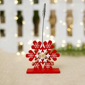 2 PCS Christmas Creative Wooden Business Card Holder Accessories Scene Decoration, Style:Snowflake(Red)