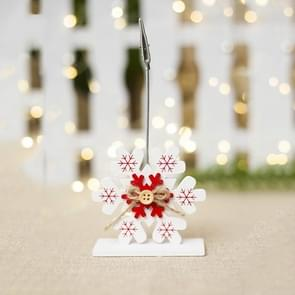 2 PCS Christmas Creative Wooden Business Card Holder Accessories Scene Decoration, Style:Snowflake(White)