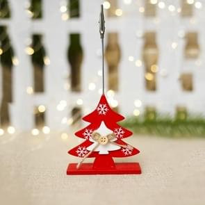 2 PCS Christmas Creative Wooden Business Card Holder Accessories Scene Decoration, Style:Christmas Tree(Red)