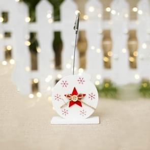 2 PCS Christmas Creative Wooden Business Card Holder Accessories Scene Decoration, Style:Pentagram(White)